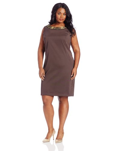 Agb Women S Plus Size Beaded Sheath Dress Brown 18w