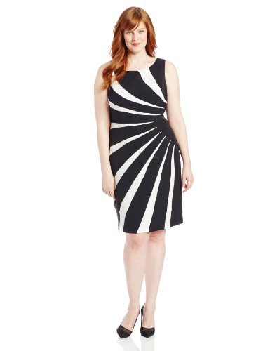 Adrianna Papell Womens Plus Size Colorblock Sideburst Dress Black