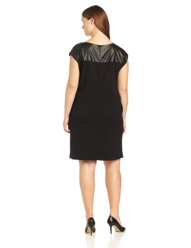 Anne Klein Women S Plus Size Leather Yoke Shift Dress