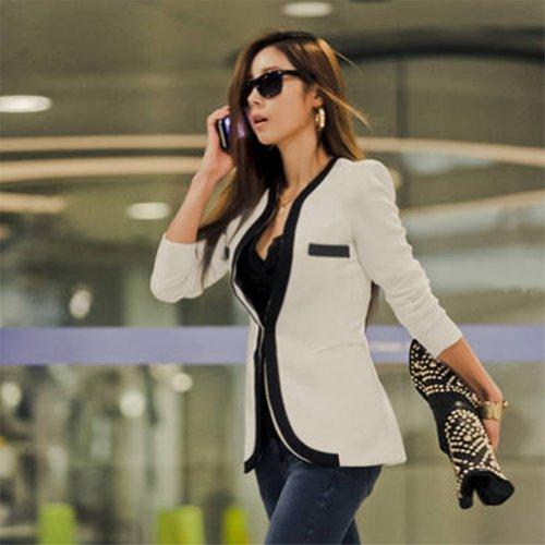 New York prezzo ridotto ultima vendita Asoidchi New Ladies White Black Colors Slim OL Blazer Jacket Suit ...