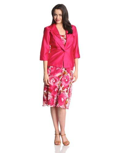 Dana Kay Women S Floral Printed Jacket Dress Raspberry