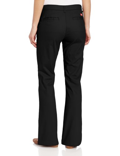 Dickies Women S Flat Front Stretch Twill Pant Black 6