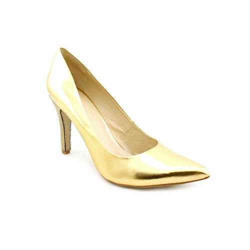 nine west gwendle womens size 9 gold leather pumps heels