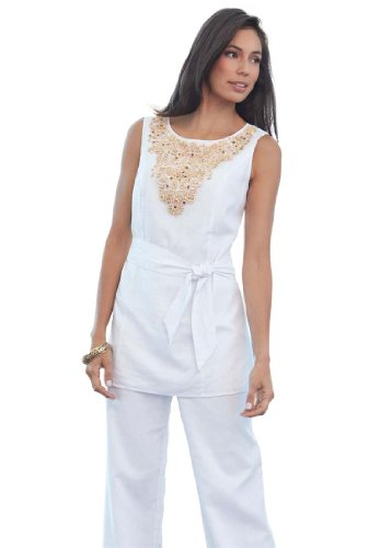Plus Size Linen Pant Set With Beaded Front White 18