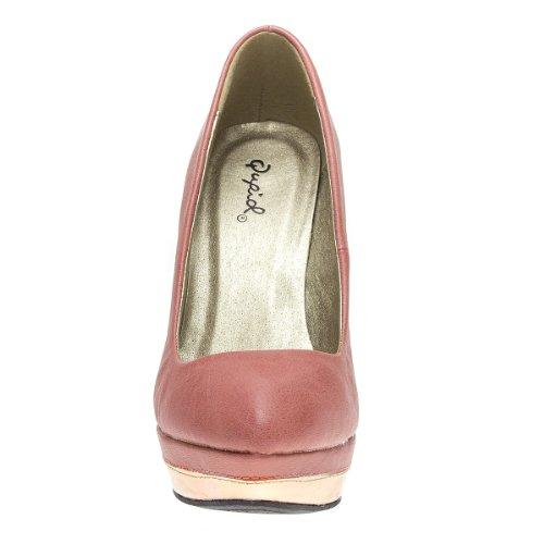 Pink Closed Toe Wedge Heel Pumps