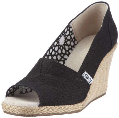 toms womens fall wedges shoes in black canvas size 5b