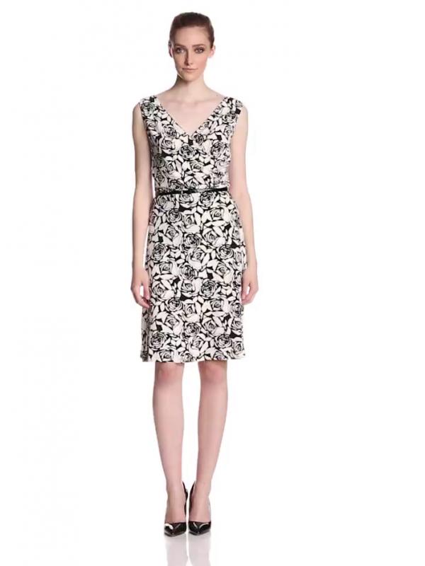 Anne Klein Women S Petite Rose Print Dress Black Multi