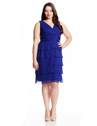 Jessica Howard Women\'s Plus-Size Sleeveless V-Neck Tiered Dress, Royal, 16W  - Top Fashion Web
