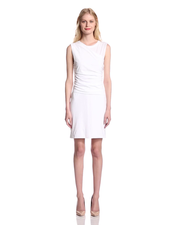 Theory women 39 s tucky t shirt jersey fitted dress white for Fitted white dress shirt womens