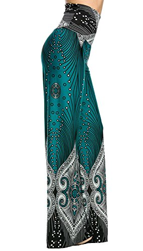 Colorful Teal Border Printed Print Palazzo Pants Wide