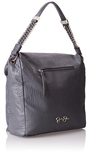 jessica simpson lulu convertable flap bucket shoulder bag slate grey one size
