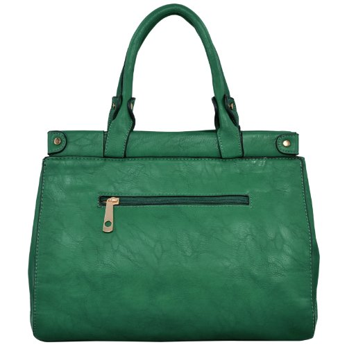 Mg Collection Wendy Stylish Emerald Green Satchel Tote
