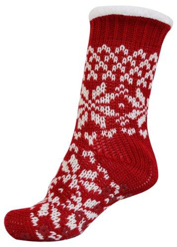 OCTAVEu00ae Ladies Fairisle Slipper Socks With Non Skid Grip Soles - Red / White - Top Fashion Web