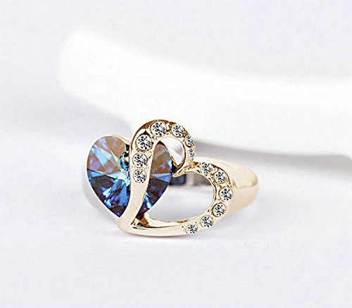 Yoursfs simulated diamond heart rings 18k gold plated blue for Sapphire studios jewelry reviews