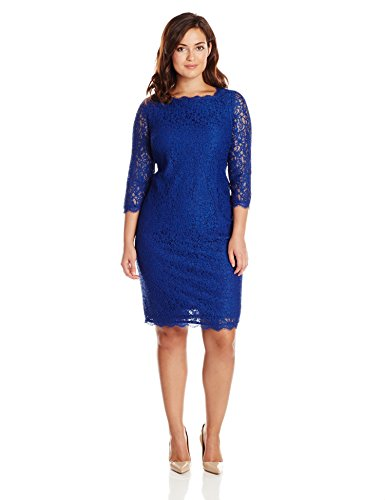 Adrianna Papell Womens Plus Size 34 Sleeve Lace Dress Prussian