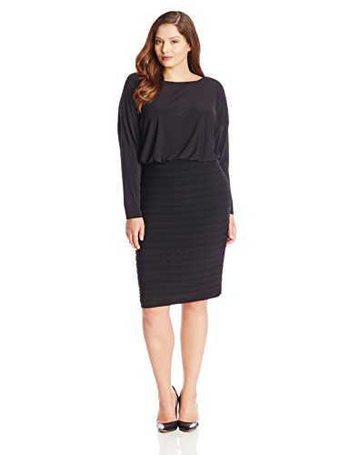 Adrianna Papell Womens Plus Size Blouson Banded Skirt Dress Black
