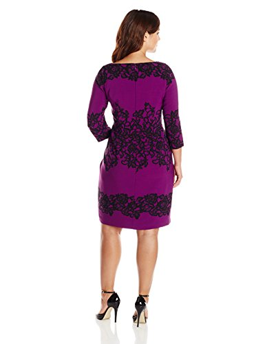 Adrianna Papell Womens Plus Size Fitted Placed Printed Lace Dress