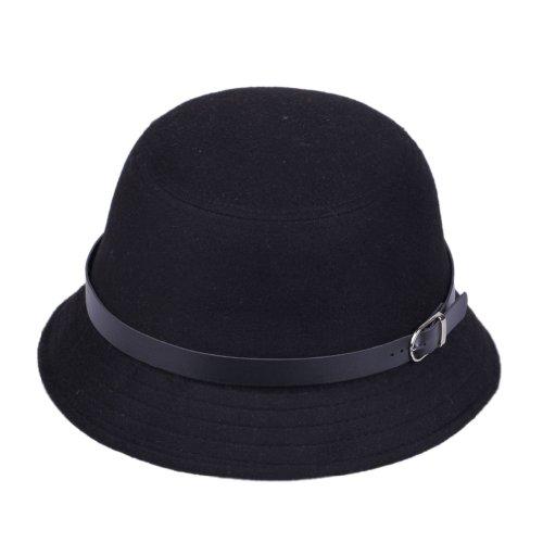 bigood warm wool bowler black belted derby brim