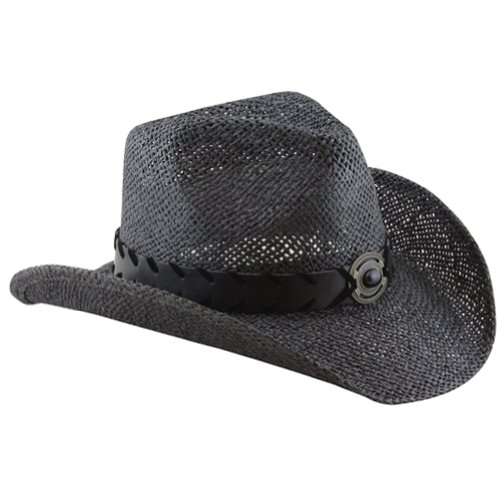 black straw cowboy hat for with faux leather band