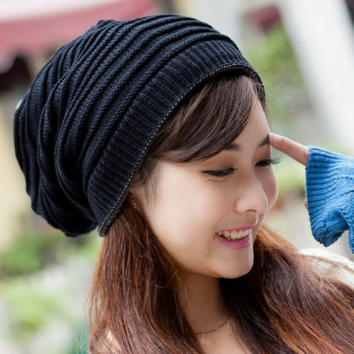 LOCOMO Women Girl Striped Stripes Pattern Slouchy Knit Beanie Crochet Rib Hat...