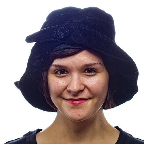 Midnight Mystery Velvet Bucket Hat with French Knot Accent ...
