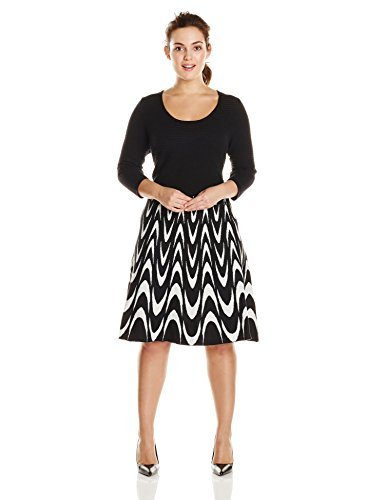 Sandra Darren Womens Plus Size Long Sleeve Printed Fit And Flare