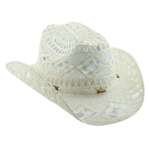 Straw White Cowboy Hat For Women With Shapeable Brim Top