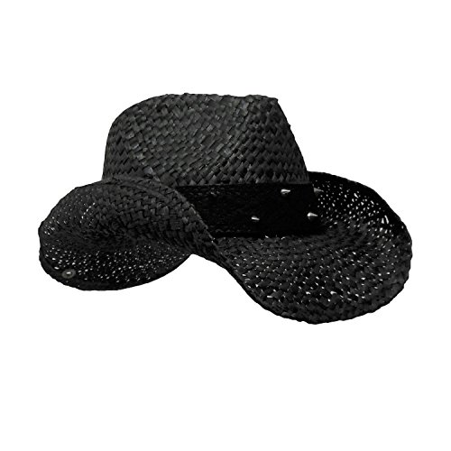 Western Gothic Black Straw Cowboy Hat With Silver Spikes