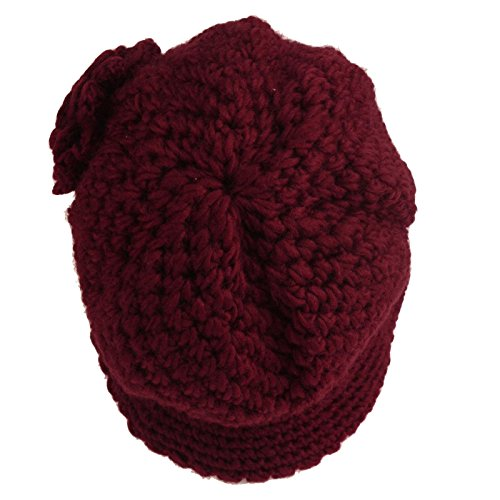 Winter 1920s Thick Knit Fleece Lined Floral Cloche Bucket Bell Hat Cap Wine M Top Fashion Web