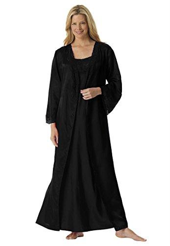 Amoureuse Women's Plus Size Long Satin Peignoir Set Black ...