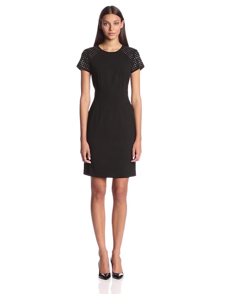 Calvin Klein Women S Embellished Sheath Dress Black 10