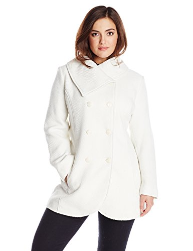 Jessica Simpson Women S Plus Size Double Breasted Fold Collar Wool Coat Plus Off White 3X Top Fashion Web