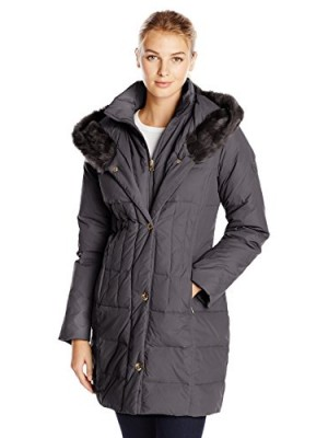 Larry-Levine-Womens-Hooded-34-Length-Down-Filled-Coat-Black-X-Small-0