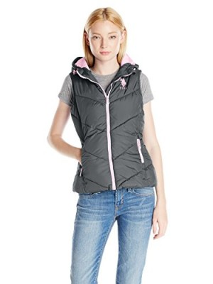 US-Polo-Assn-Womens-Hooded-Puffer-Vest-New-Grey-Large-0