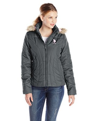 US-Polo-Assn-Womens-Puffer-Jacket-with-Hood-New-Grey-Small-0