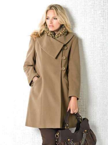 Ulla Popken Plus Size Classic Dress Coat Camel 2426 Top