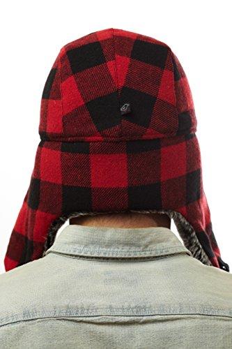 W220e Red Buffalo Plaid Checker Pilot Trapper Hat With